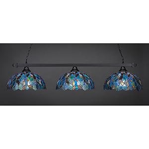Square Matte Black 16-Inch Three-Light Island Pendant with Blue Mosaic Tiffany Glass