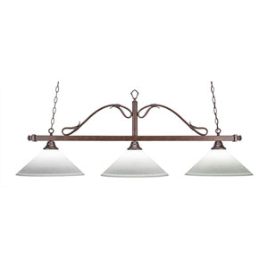 Scroll Bronze Three-Light Island Pendant with White Muslin Glass
