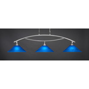 Bow Brushed Nickel 16-Inch Three-Light Island Pendant with Blue Italian Glass