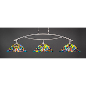 Bow Brushed Nickel 19-Inch Three-Light Island Pendant