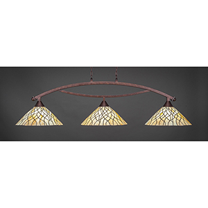 Bow Bronze 16-Inch Three-Light Island Pendant with Sandhill Tiffany Glass