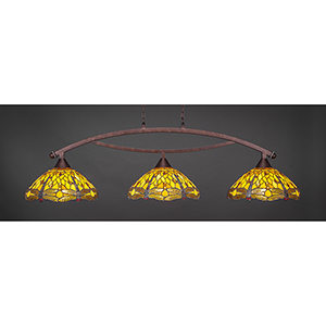 Bow Bronze 16-Inch Three-Light Island Pendant with Amber Dragonfly Tiffany Glass