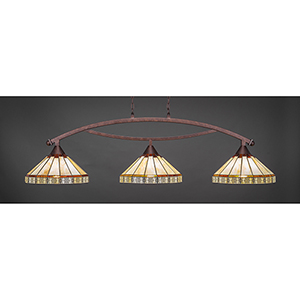 Bow Bronze 15-Inch Three-Light Island Pendant with Honey and Brown Mission Glass