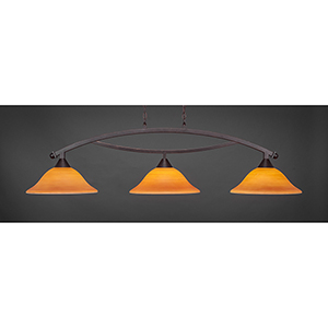 Bow Dark Granite 16-Inch Three-Light Island Pendant with Cayenne Linen Glass