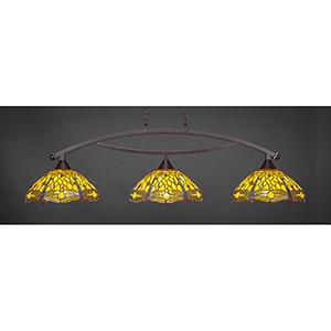 Bow Dark Granite 16-Inch Three-Light Island Pendant with Amber Dragonfly Tiffany Glass