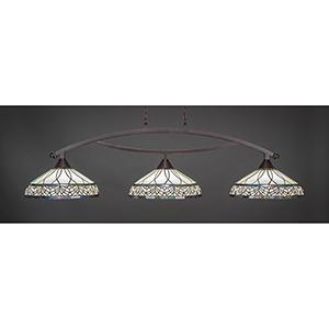 Bow Dark Granite 16-Inch Three-Light Island Pendant with Royal Merlot Tiffany Glass