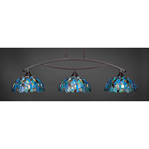 Bow Dark Granite 16-Inch Three-Light Island Pendant with Blue Mosaic Tiffany Glass