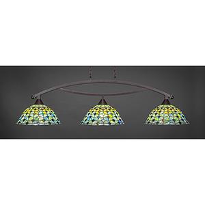 Bow Dark Granite 16-Inch Three-Light Island Pendant with Crescent Tiffany Glass