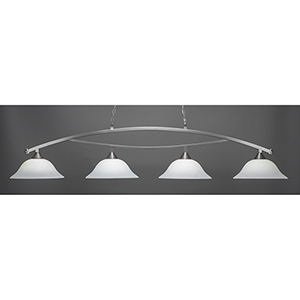 Bow Brushed Nickel 16-Inch Four-Light Island Pendant with White Linen Glass