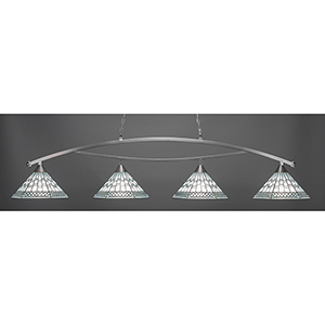 Bow Brushed Nickel 16-Inch Four-Light Island Pendant with Pewter Tiffany Glass
