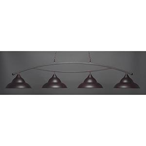 Bow Dark Granite 16-Inch Four-Light Island Pendant with Double Bubble Metal Shade