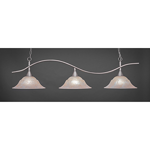 Swoop Brushed Nickel 16-Inch Three-Light Island Pendant with Amber Marble Glass