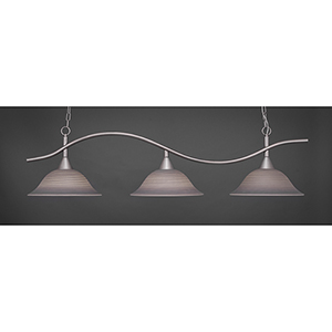 Swoop Brushed Nickel 16-Inch Three-Light Island Pendant with Gray Linen Glass