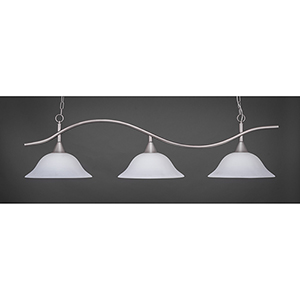 Swoop Brushed Nickel 16-Inch Three-Light Island Pendant with White Linen Glass