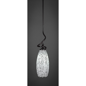 Capri Dark Granite Seven-Inch One-Light Mini Pendant with Black Fusion Glass