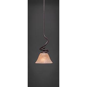Capri Dark Granite Seven-Inch One-Light Mini Pendant with Amber Marble Glass