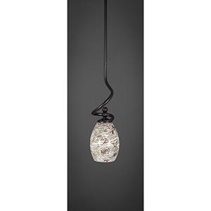 Capri Dark Granite 16-Inch One-Light Pendant with Natural Fusion Glass