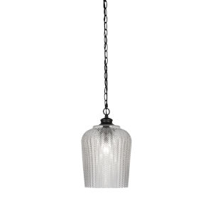 Cordova Matte Black One-Light Mini Pendant with Clear Textured Glass Shade