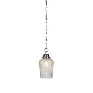 Cordova Brushed Nickel One-Light 10-Inch Chain Hung Mini Pendant with Clear Textured Glass