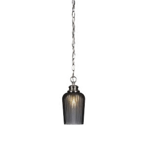 Cordova Brushed Nickel One-Light 10-Inch Chain Hung Mini Pendant with Smoke Textured Glass