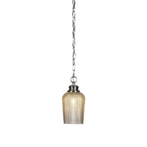 Cordova Brushed Nickel One-Light 10-Inch Chain Hung Mini Pendant with Silver Glass