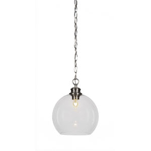 Kimbro Brushed Nickel One-Light 12-Inch Chain Hung Mini Pendant with Clear Bubble Glass