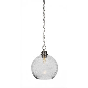 Kimbro Brushed Nickel One-Light 12-Inch Chain Hung Mini Pendant with Smoke Bubble Glass