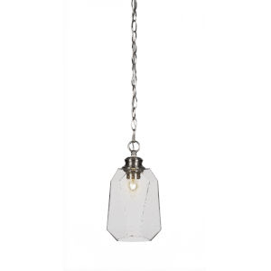 Rocklin Brushed Nickel One-Light 12-Inch Chain Hung Mini Pendant with Clear Bubble Glass