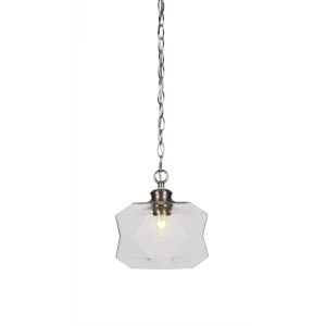 Rocklin Brushed Nickel One-Light 10-Inch Chain Hung Mini Pendant with Clear Bubble Glass