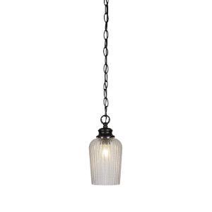 Cordova Matte Black One-Light 10-Inch Chain Hung Mini Pendant with Clear Textured Glass