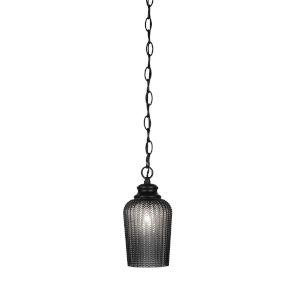 Cordova Matte Black Five-Inch One-Light Mini Pendant with Smoke Textured Glass Shade