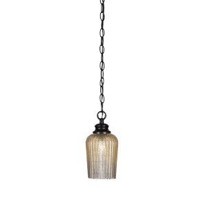 Cordova Matte Black One-Light 10-Inch Chain Hung Mini Pendant with Silver Glass