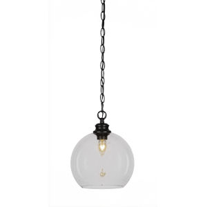 Kimbro Matte Black One-Light 12-Inch Chain Hung Mini Pendant with Clear Bubble Glass