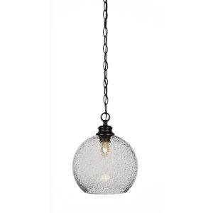 Kimbro Matte Black One-Light 12-Inch Chain Hung Mini Pendant with Smoke Bubble Glass