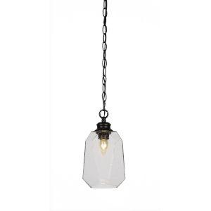 Rocklin Matte Black One-Light 12-Inch Chain Hung Mini Pendant with Clear Bubble Glass