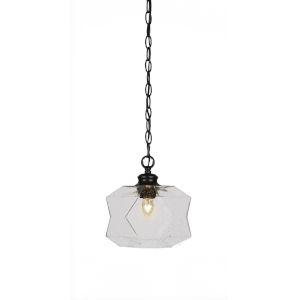 Rocklin Matte Black One-Light 10-Inch Chain Hung Mini Pendant with Clear Bubble Glass