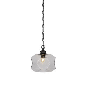 Rocklin Matte Black One-Light 10-Inch Chain Hung Mini Pendant with Smoke Glass