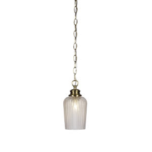 Cordova New Age Brass One-Light 10-Inch Chain Hung Mini Pendant with Clear Textured Glass