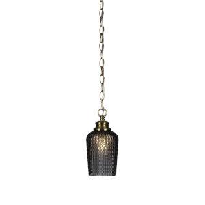 Cordova New Age Brass One-Light 10-Inch Chain Hung Mini Pendant with Smoke Textured Glass