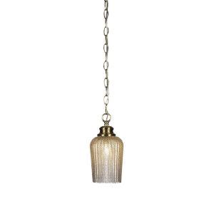 Cordova New Age Brass One-Light 10-Inch Chain Hung Mini Pendant with Silver Glass