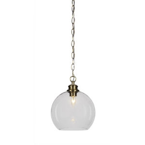 Kimbro New Age Brass One-Light 12-Inch Chain Hung Mini Pendant with Clear Bubble Glass