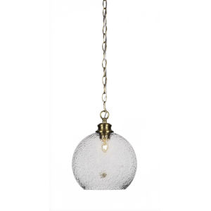Kimbro Brushed Nickel One-Light 10-Inch Chain Hung Mini Pendant with Smoke Bubble Glass