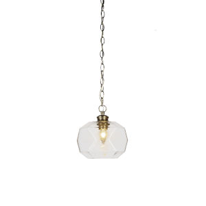 Rocklin New Age Brass One-Light Mini Pendant with Clear Bubble Glass Shade