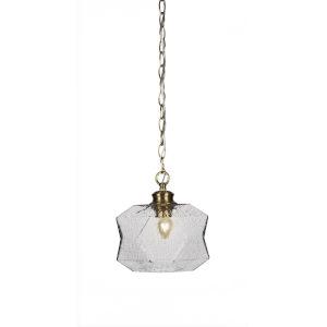 Rocklin New Age Brass One-Light 10-Inch Chain Hung Mini Pendant with Smoke Glass