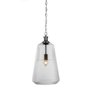 Carina Brushed Nickel 11-Inch One-Light Pendant with Clear Ribbed Glass Shade