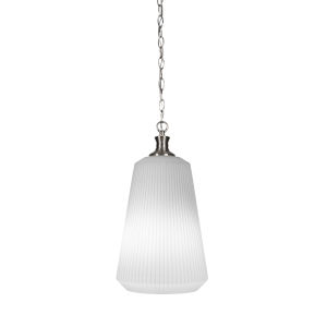 Carina Brushed Nickel One-Light 18-Inch Chain Hung Pendant with Opal Frosted Glass