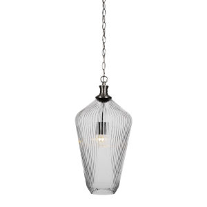 Carina Brushed Nickel One-Light 20-Inch Chain Hung Pendant with Clear Ribbed Glass