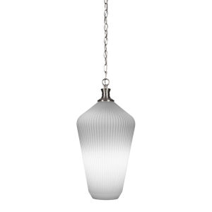 Carina Brushed Nickel One-Light 20-Inch Chain Hung Pendant with Opal Frosted Glass