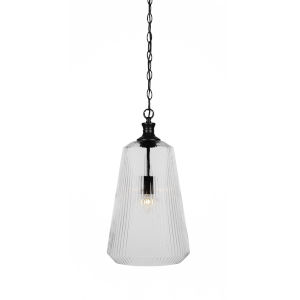 Carina Matte Black One-Light 18-Inch Chain Hung Pendant with Clear Ribbed Glass