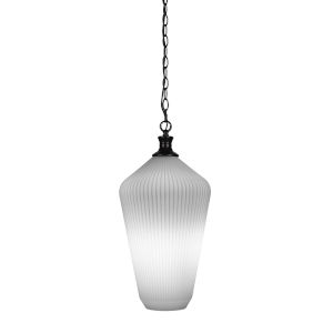 Carina Matte Black One-Light 20-Inch Chain Hung Pendant with Opal Frosted Glass